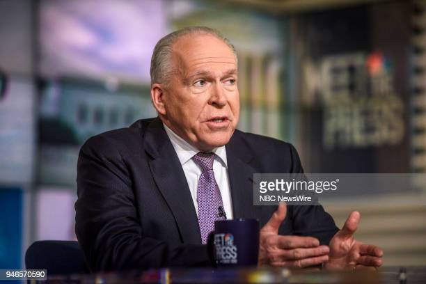 John Brennan Former CIA Director NBC News Senior National Security and Intelligence Analyst appears on Meet the Press in Washington DC Sunday April...