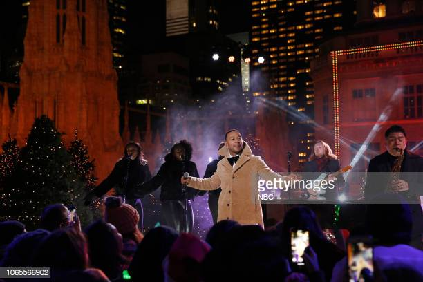 Pictured: John Legend rehearses for the 2018 Christmas in Rockefeller Center --