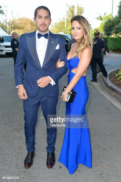 Jonathan Islas and Danna García on the Red Carpet at the Watsco Center in the University of Miami Coral Gables Florida on April 27 2017