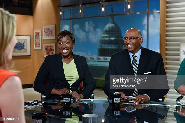 """Pictured: Joy-Ann Reid, MSNBC National Correspondent, left, and Michael Steele, Former Chair, Republican National Committee, right, appear on """"Meet..."""