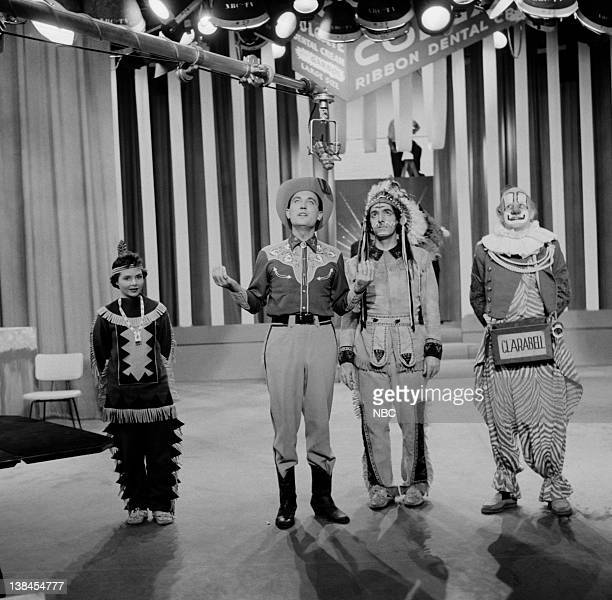 Judy Tyler as Princess Summerfall Winterspring unknown Bill LeCornec as Chief Thunderthud and Lew Anderson as Clarabell the Clown