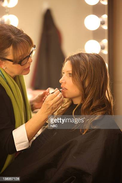 Pictured: Julia Mancuso gets her make up down before interviews with NBC