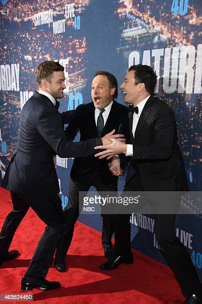 Justin Timberlake Billy Crystal and Jimmy Fallon walk the red carpet at the SNL 40th Anniversary Special at 30 Rockefeller Plaza in New York NY on...