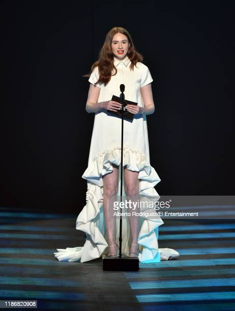 Karen Gillan speaks on stage during the 2019 E People's Choice Awards held at the Barker Hangar on November 10 2019 NUP_188997