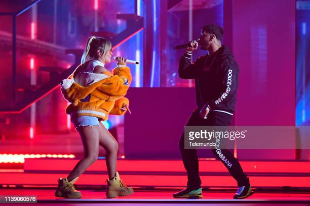 Karol G and Anuel AA perform during rehearsals at the Mandalay Bay Resort and Casino in Las Vegas NV on April 22 2019