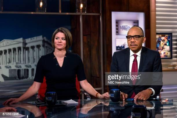 Kasie Hunt NBC News Capitol Hill Correspondent and Eugene Robinson Columnist The Washington Post appear on Meet the Press in Washington DC Sunday Nov...