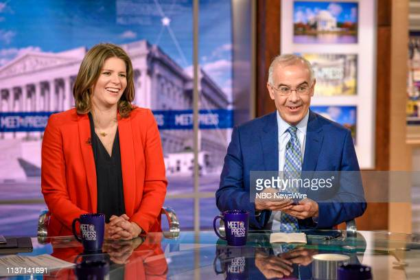 Kasie Hunt NBC News Capitol Hill Correspondent Host MSNBCs Kasie DC and David Brooks Columnist The New York Times appear on Meet the Press in...