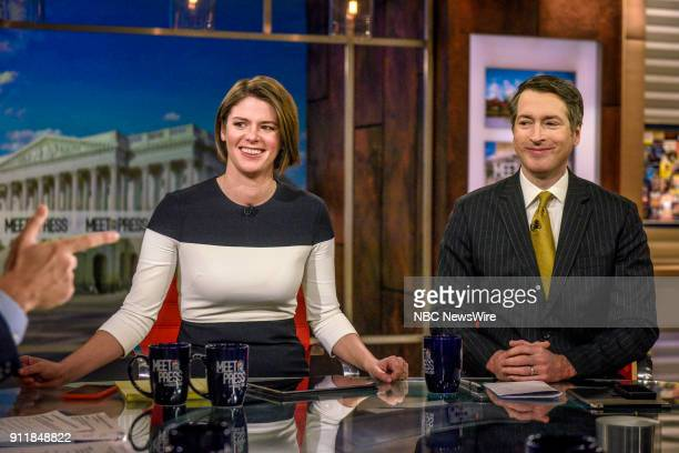 Kasie Hunt NBC News Capitol Hill Correspondent Host MSNBCs Kasie DC and Rich Lowry Editor National Review appear on Meet the Press in Washington DC...