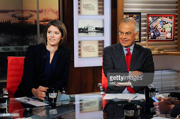 Kasie Hunt NBC News Political Correspondent and David Brooks Columnist The New York Times appear on Meet the Press in Washington DC Sunday Jan 24 2016