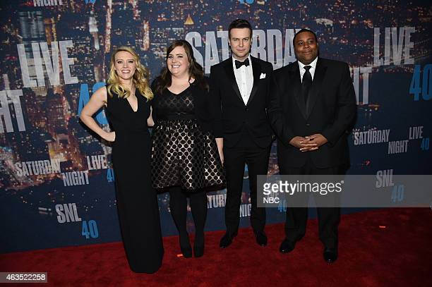Kate McKinnon Taran Killam Keenan Thompson walk the red carpet at the SNL 40th Anniversary Special at 30 Rockefeller Plaza in New York NY on February...