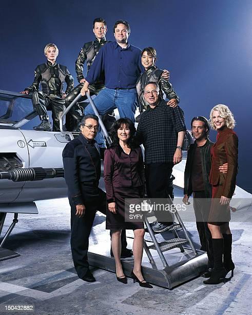 MINISERIES Pictured Katee Sackhoff as Lieutenant Kara Starbuck Thrace Jamie Bamber as Captain Lee Apollo Adama executive producer David Eick Grace...