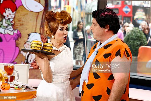 Kathie Lee Gifford as Wilma Flintstone and Gerard Marrone as Fred Flintstone appear on NBC News' Today show