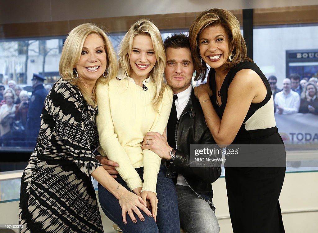 Kathie Lee Gifford, Luisana Lopilato, Michael Buble and Hoda Kotb appear on NBC News' 'Today' show --
