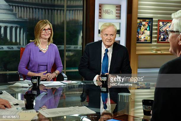 Kathleen Parker Columnist The Washington Post left and Chris Matthews Host MSNBCs Hardball right appear on Meet the Press in Washington DC Sunday...