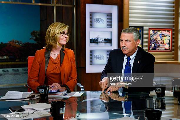 Kathleen Parker Columnist The Washington Post left and Tom Friedman Columnist The New York Times right appear on Meet the Press in Washington DC...