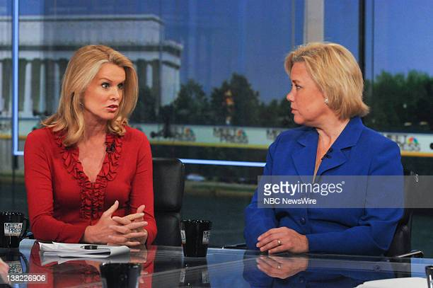 Katty Kay Washington Correspondent BBC World News America left and Sen Mary Landrieu right appear on Meet the Press in Washington DC Sunday June 20...