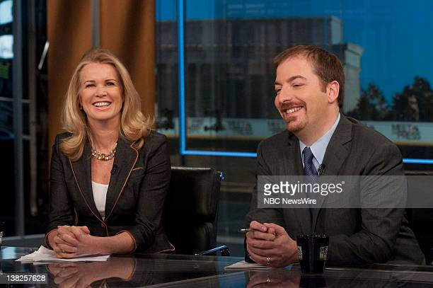 Katty Kay Washington Correspondent BBC World News America left and Chuck Todd Political Director NBC News right appear on Meet the Press in...