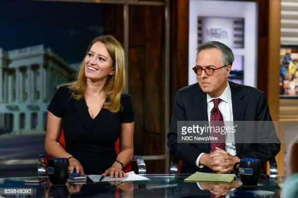 Katy Tur NBC News Correspondent Host MSNBC Live and Michael Gerson Columnist The Washington Post appear on Meet the Press in Washington DC Sunday Aug...