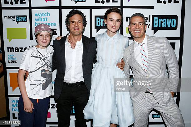 LIVE Pictured Keen Ruffalo Mark Ruffalo Keira Knightley and Andy Cohen