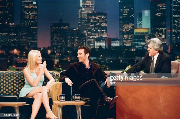 Kelly Lynch and Michael T Weiss during an interview with host Jay Leno on January 7 1998