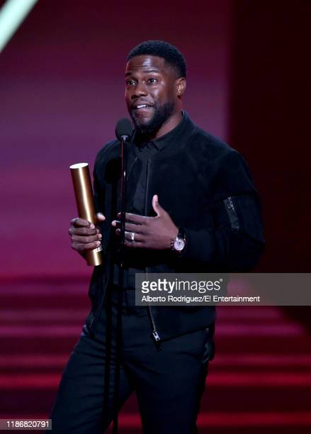 Kevin Hart accepts The Comedy Act of 2019 award on stage for 'Kevin Hart Irresponsible' during the 2019 E People's Choice Awards held at the Barker...