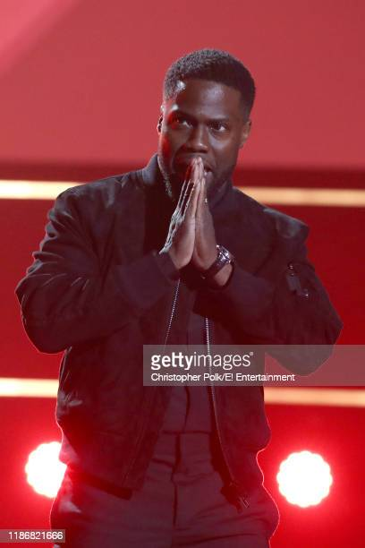Pictured: Kevin Hart on stage during the 2019 E! People's Choice Awards held at the Barker Hangar on November 10, 2019 -- NUP_188993