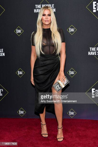 Pictured: Khloé Kardashian arrives to the 2019 E! People's Choice Awards held at the Barker Hangar on November 10, 2019 -- NUP_188989