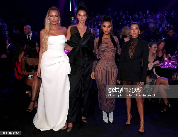 Khloe Kardashian Kendall Jenner Kim Kardashian and Kourthney Kardashian during the 2018 E People's Choice Awards held at the Barker Hangar on...