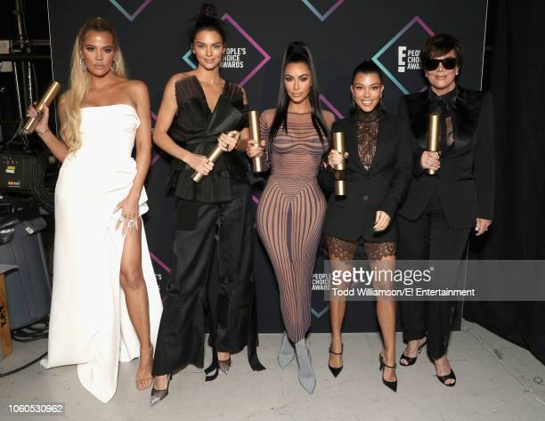 Khloe Kardashian Kendall Jenner Kim Kardashian Kourtney Kardashian and Kris Jenner backstage during the 2018 E People's Choice Awards held at the...