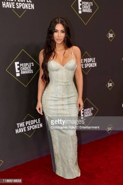 Pictured: Kim Kardashian arrives to the 2019 E! People's Choice Awards held at the Barker Hangar on November 10, 2019. -- NUP_188992