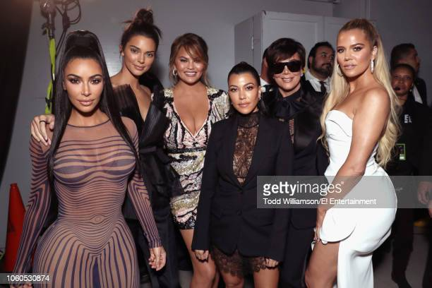 Kim Kardashian Kendall Jennerr Chrissy Teigen Kourtney Kardashian Kris Jenner and Khloe Kardashian backstage during the 2018 E People's Choice Awards...