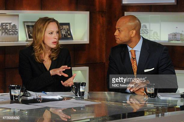 Kimberley Strassel Columnist for the Wall Street Journal left and Wes Moore Author The Other Wes Moore right appear on Meet the Press in Washington...