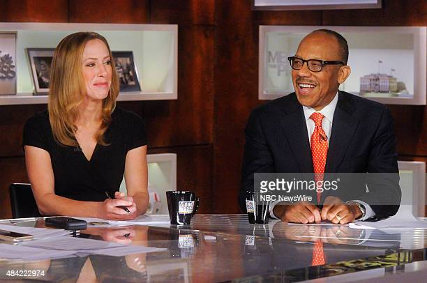 Kimberley Strassel Columnist for The Wall Street Journal left and Eugene Robinson Columnist for The Washington Post right appear on Meet the Press in...