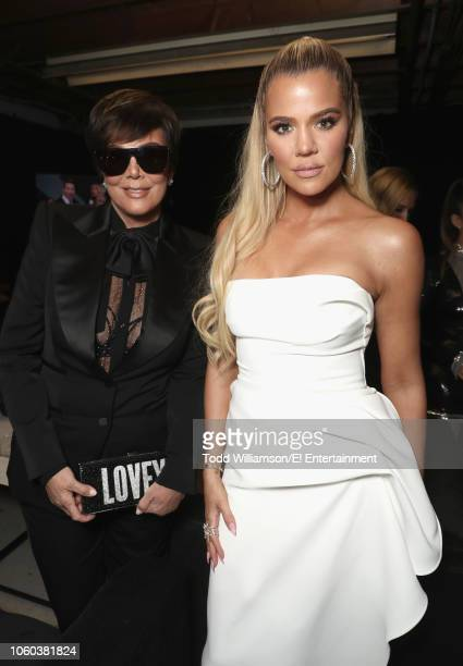 Pictured: Kris Jenner and Khloe Kardashian backstage during the 2018 E! People's Choice Awards held at the Barker Hangar on November 11, 2018 --...