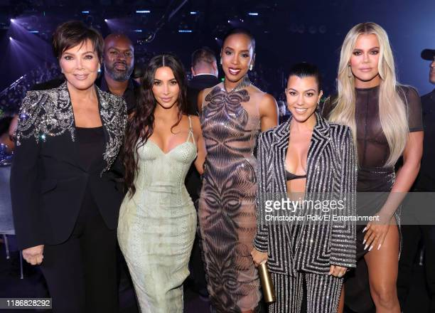 Kris Jenner Kim Kardashian Kelly Rowland Kourtney Kardashian and Khloé Kardashian attend the 2019 E People's Choice Awards held at the Barker Hangar...