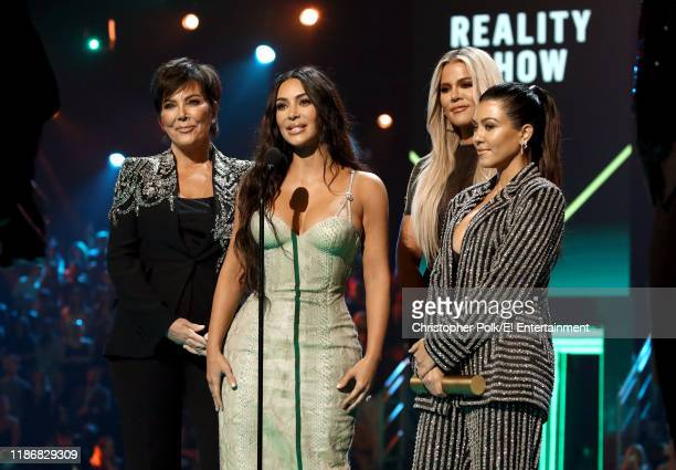 Pictured: Kris Jenner, Kim Kardashian, Khloé Kardashian, and Kourtney Kardashian accept The Reality Show of 2019 for 'Keeping Up with the...