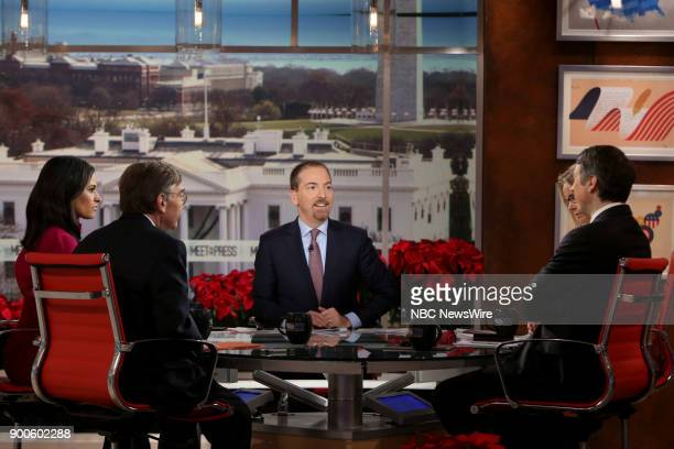 Kristen Welker Charlie Cook moderator Chuck Todd and Rich Lowry appear on 'Meet the Press' in Washington DC Sunday Dec 31 2017