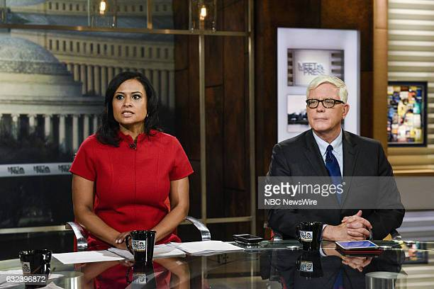 Kristen Welker White House Correspondent for NBC News left and Hugh Hewitt Host The Hugh Hewitt Show MSNBC Political Analyst right appear on Meet the...