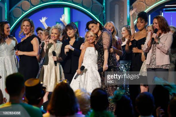 Kristin Chenoweth and Idina Menzel with the former and current Glindas and Elphabas from productions of Wicked
