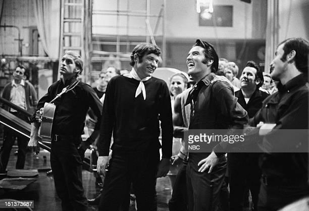 '68 COMEBACK SPECIAL Pictured Lance LeGault director Steve Binder Elvis Presley during his '68 Comeback Special on NBC