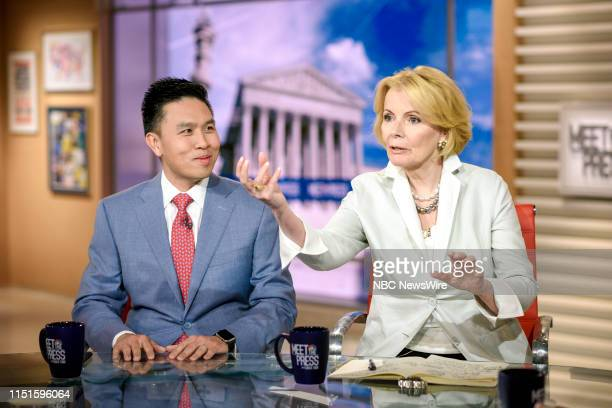 """Pictured: Lanhee Chen, Research Fellow, Hoover Institution, and Peggy Noonan, Columnist, The Wall Street Journal, appear on """"Meet the Press"""" in..."""