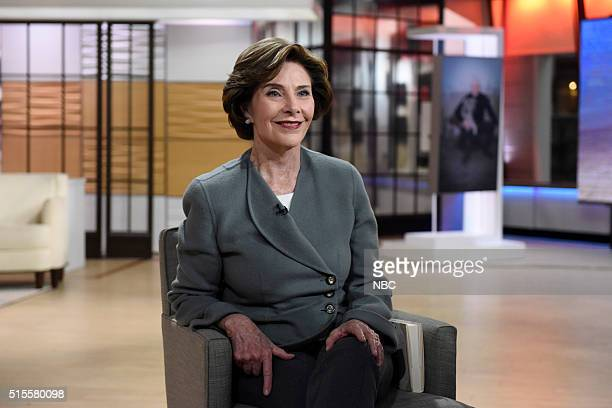 Laura Bush appears on the Today show on Monday March 14 2016 from Rockefeller Plaza in New York