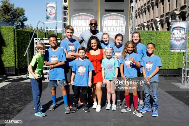 Laurie Hernandez Akbar Gbajabiamila and Ninja Warriors attend Universal Kid's American Ninja Warrior and Top Chef Junior Crossover Event at Universal...