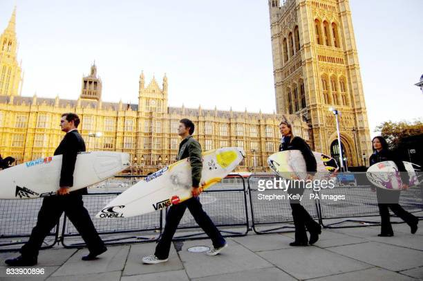 Pictured left to right David Davies MP for Monmouth Duncan Scott the Chairman of British Surfing Association Amanda Van Santen of the Royal Yachting...