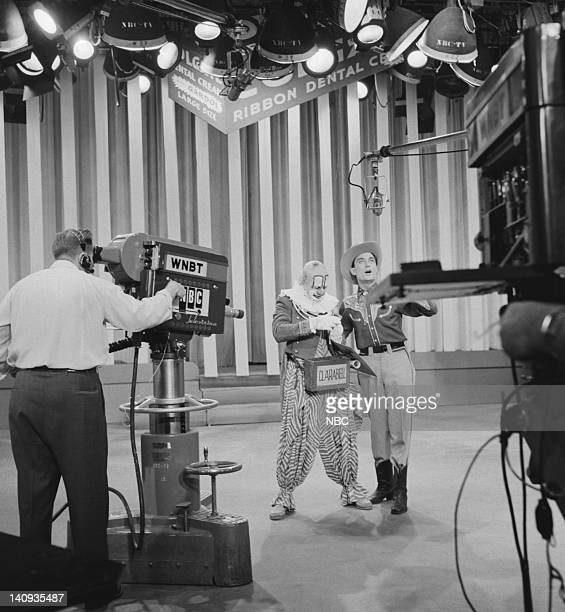 Lew Anderson as Clarabell the Clown Bob Smith as host Buffalo Bob Smith during taping of the Colgate 5th Anniversary party Photo by NBCU Photo Bank