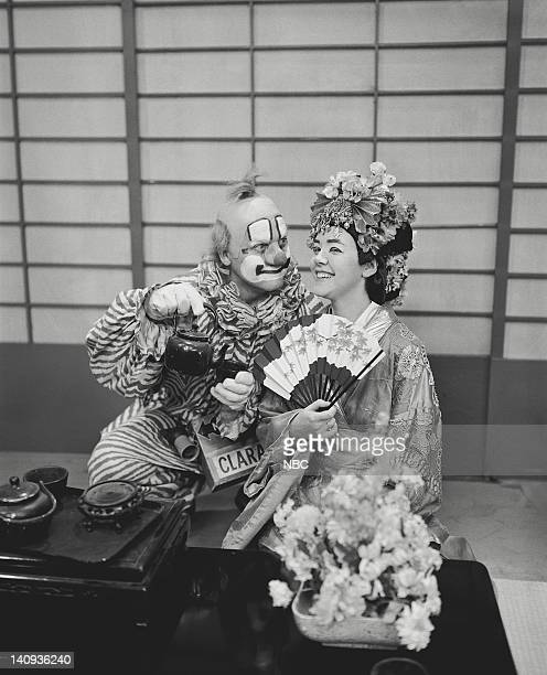 Lew Anderson as Clarabell the Clown Marti Barris as a geisha Photo by NBCU Photo Bank
