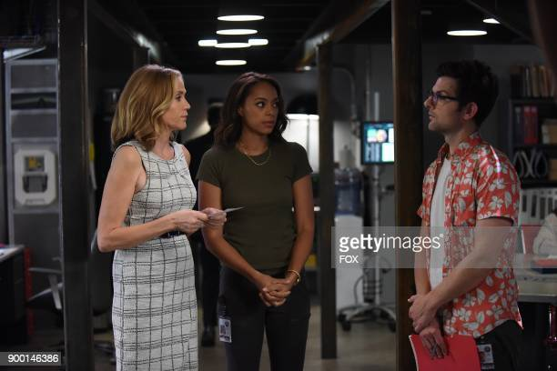Pictured LR Ally Walker Amber Stevens West and Adam Scott in the 'Succubus' episode of GHOSTED airing Sunday Oct 15 on FOX