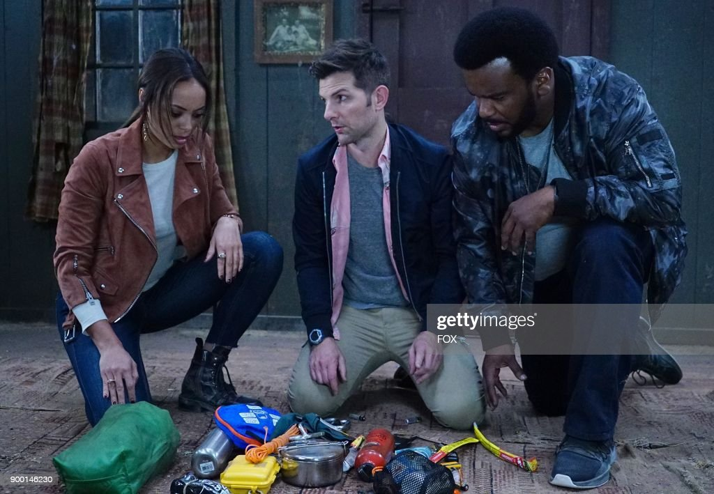Amber Stevens West, Adam Scott and Craig Robinson in the 'Snatcher' episode of GHOSTED airing Sunday, Jan. 7 (8:30-9:00 PM ET/PT) on FOX.