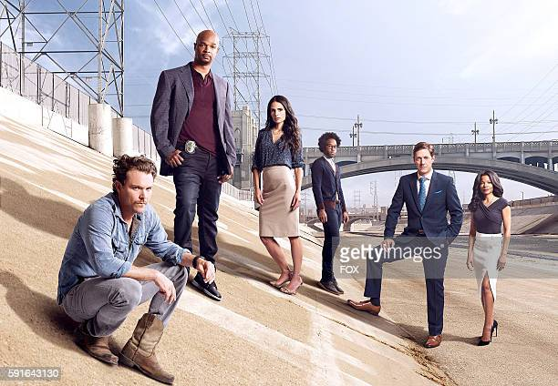 Pictured LR Clayne Crawford Damon Wayans Sr Jordana Brewster Johnathan Fernandez Kevin Rahm and Keesha Sharp on LETHAL WEAPON premiering Wednesday...