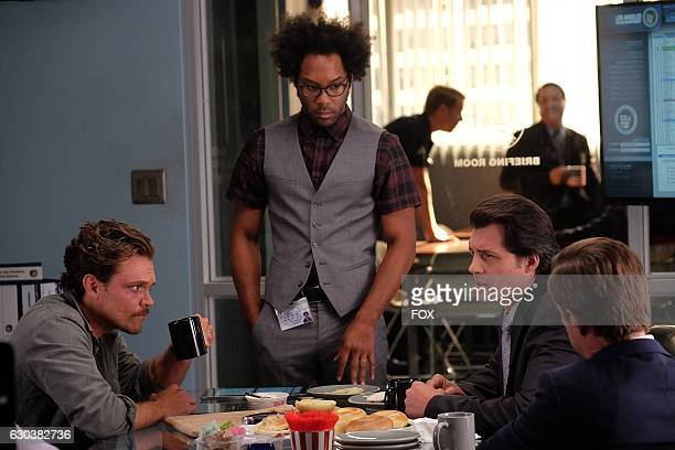 Pictured LR Clayne Crawford Johnathan Fernandez guest star Kristoffer Polaha and Kevin Rahm in the Surf n Turf episode of LETHAL WEAPON airing...